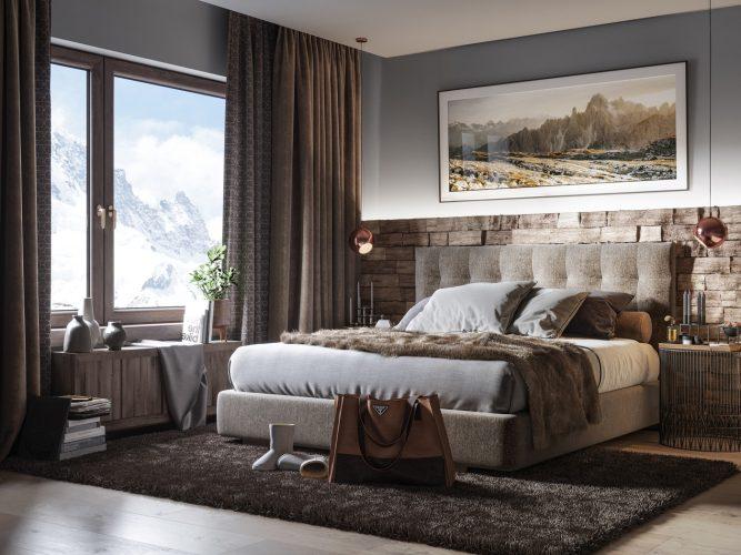 3d visualisierung schlafzimmer modern rustic