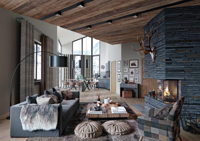 3d visualisierung wohnzimmer modern rustic