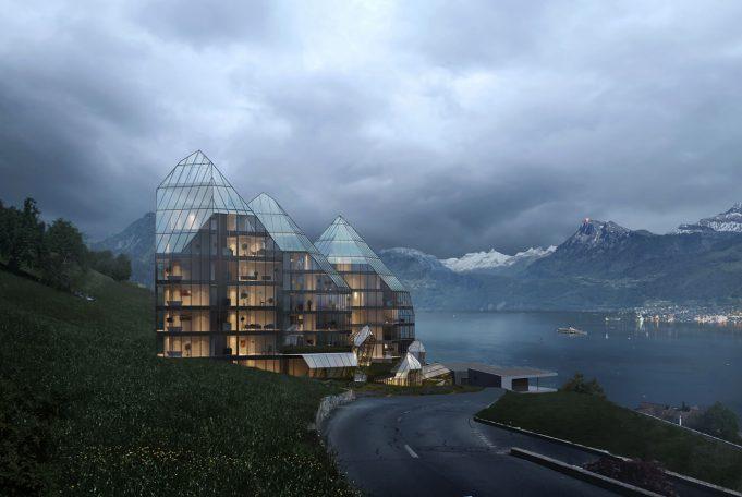 Architekturvisualisierung eines Mehrfamilienhaus mit Umgebung und Natur
