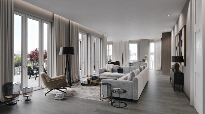 Holzhausen wohnzimmer 3d visualisierung frankfurt