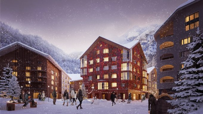 Architekturvisualisierung Apartmenthaus im Winter mit Schnee